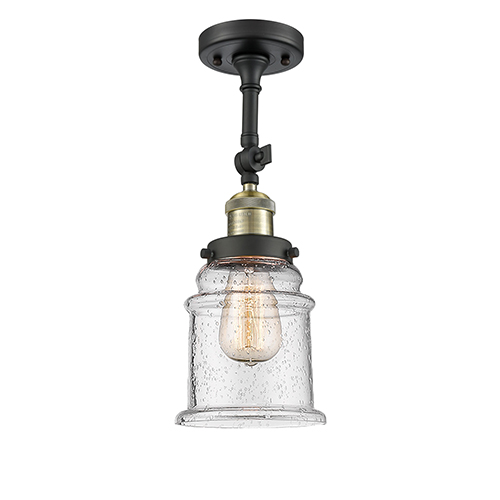 Innovations Lighting Canton Black Brushed Brass 14-Inch LED Semi Flush Mount with Seedy Bell Glass
