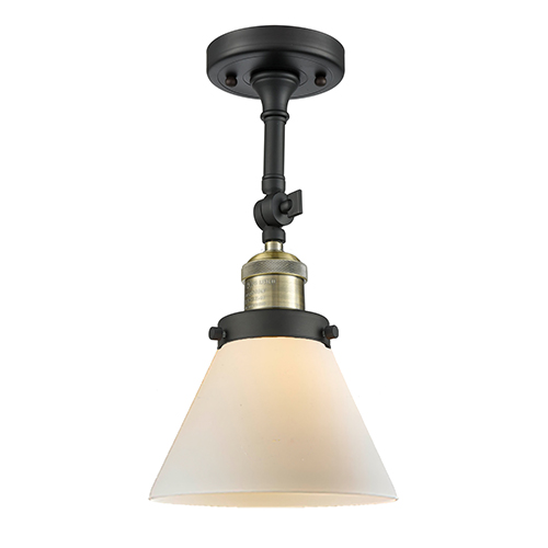 Innovations Lighting Large Cone Black Brushed Brass One-Light Semi Flush Mount with Matte White Cased Cone Glass