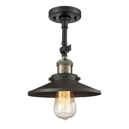 Innovations Lighting Railroad Black Brushed Brass Eight-Inch One-Light Semi Flush Mount with Matte Black Metal Shade
