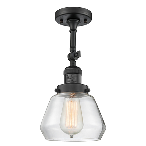 Fulton Black 13-Inch One-Light Semi Flush Mount with Clear Sphere Glass