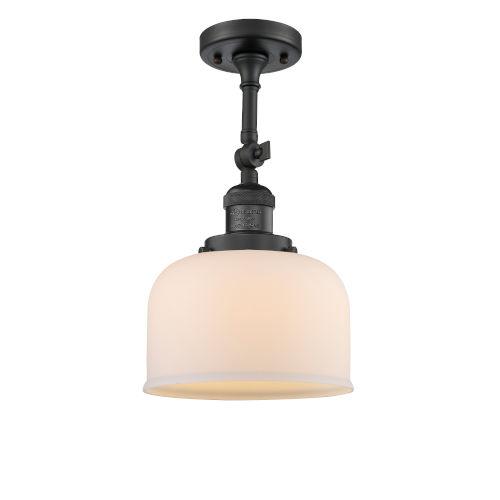 Large Bell Matte Black LED Semi Flush Mount with Matte White Cased Glass