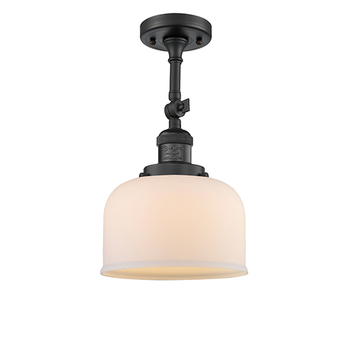 Innovations Lighting Large Bell Black Antique Brass 14-Inch One-Light Semi Flush Mount with Matte White Cased Dome Glass