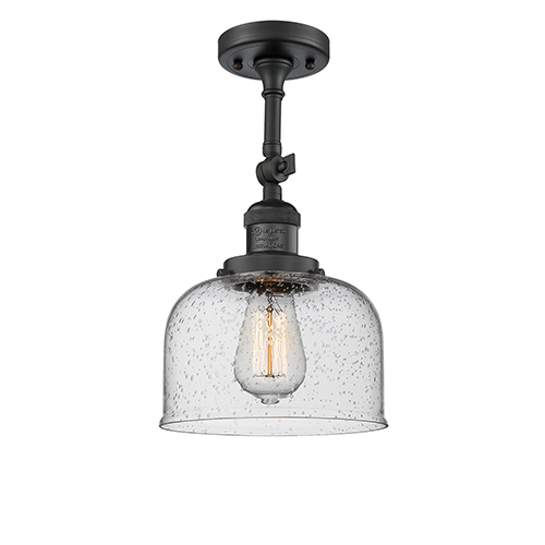 Innovations Lighting Large Bell Black Eight-Inch One-Light Semi Flush Mount with Seedy Dome Glass
