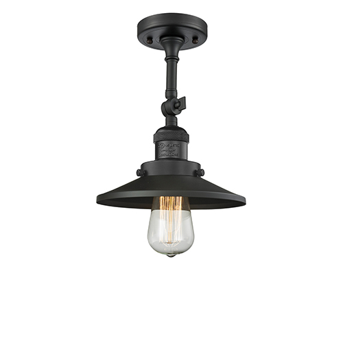 Innovations Lighting Railroad Black Eight-Inch One-Light Semi Flush Mount with Matte Black Metal Shade