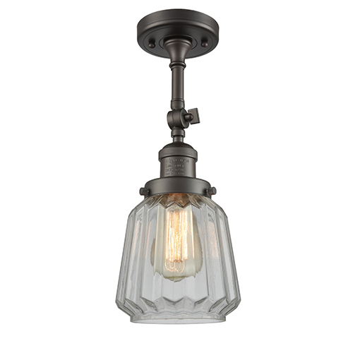 Innovations Lighting Chatham Oiled Rubbed Bronze 16-Inch One-Light Semi Flush Mount with Clear Fluted Novelty Glass