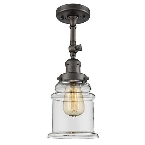 Innovations Lighting Canton Oiled Rubbed Bronze 14-Inch One-Light Semi Flush Mount with Clear Bell Glass