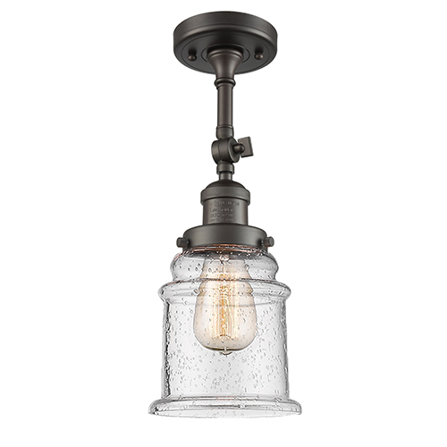 Innovations Lighting Canton Oiled Rubbed Bronze 14-Inch One-Light Semi Flush Mount with Seedy Bell Glass