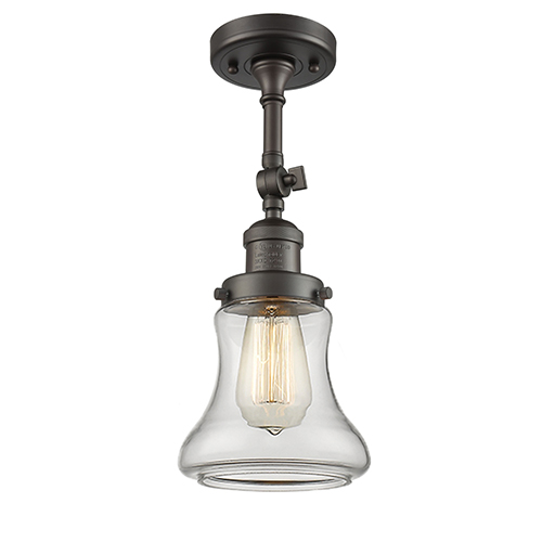 Innovations Lighting Bellmont Oiled Rubbed Bronze 14-Inch One-Light Semi Flush Mount with Clear Hourglass Glass