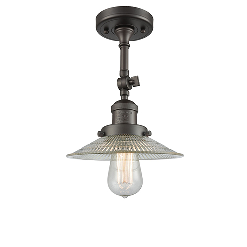 Innovations Lighting Halophane Oiled Rubbed Bronze 11-Inch One-Light Semi Flush Mount with Halophane Cone Glass
