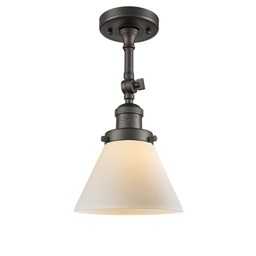 Large Cone Oiled Rubbed Bronze 14-Inch One-Light Semi Flush Mount with Matte White Cased Cone Glass