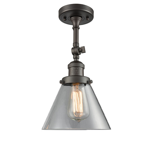 Innovations Lighting Large Cone Oiled Rubbed Bronze 14-Inch LED Semi Flush Mount with Clear Cone Glass
