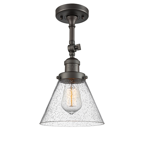 Innovations Lighting Large Cone Oiled Rubbed Bronze 14-Inch One-Light Semi Flush Mount with Seedy Cone Glass