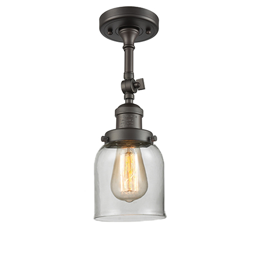 Small Bell Oiled Rubbed Bronze 14-Inch LED Semi Flush Mount with Clear Bell Glass