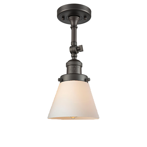 Innovations Lighting Small Cone Oiled Rubbed Bronze Six-Inch LED Semi Flush Mount with Matte White Cased Cone Glass