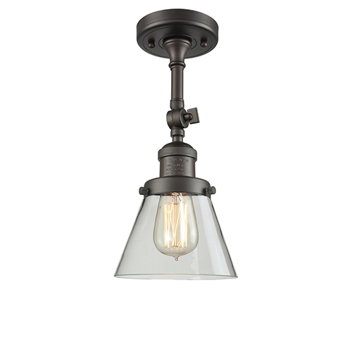 Innovations Lighting Small Cone Oiled Rubbed Bronze Six-Inch LED Semi Flush Mount with Clear Cone Glass
