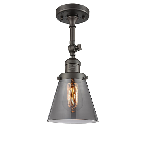 Innovations Lighting Small Cone Oiled Rubbed Bronze Six-Inch LED Semi Flush Mount with Smoked Cone Glass