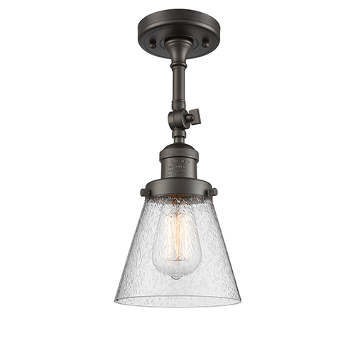 Innovations Lighting Small Cone Oiled Rubbed Bronze Six-Inch LED Semi Flush Mount with Seedy Cone Glass