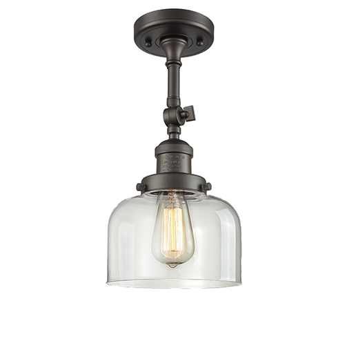 Innovations Lighting Large Bell Oiled Rubbed Bronze 14-Inch One-Light Semi Flush Mount with Clear Dome Glass