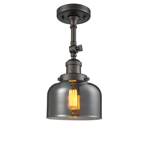 Innovations Lighting Large Bell Oiled Rubbed Bronze 14-Inch LED Semi Flush Mount with Smoked Dome Glass