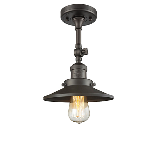 Innovations Lighting Railroad Oiled Rubbed Bronze Eight-Inch One-Light Semi Flush Mount