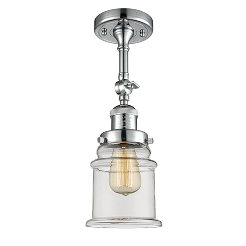 Innovations Lighting Canton Polished Chrome 14-Inch LED Semi Flush Mount with Clear Bell Glass