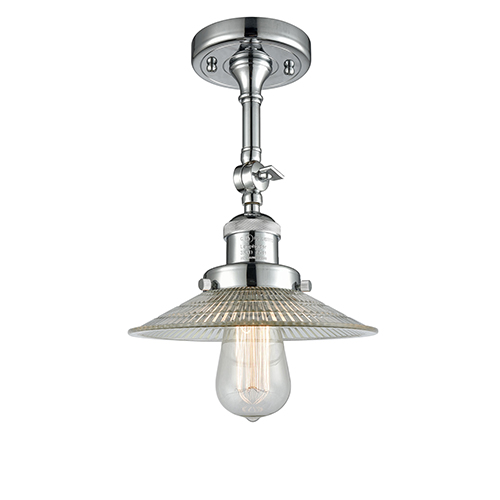 Innovations Lighting Halophane Polished Chrome 11-Inch One-Light Semi Flush Mount with Halophane Cone Glass