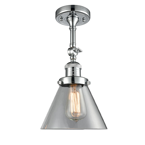 Innovations Lighting Large Cone Polished Chrome 14-Inch One-Light Semi Flush Mount with Clear Cone Glass