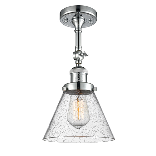 Innovations Lighting Large Cone Polished Chrome 14-Inch LED Semi Flush Mount with Seedy Cone Glass