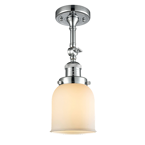 Innovations Lighting Small Bell Polished Chrome 14-Inch LED Semi Flush Mount with Matte White Cased Bell Glass