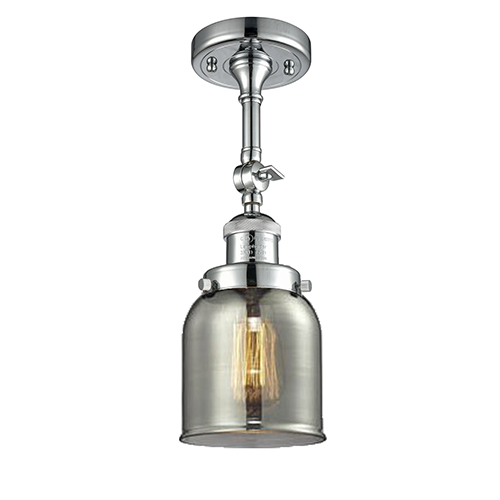 Innovations Lighting Small Bell Polished Chrome 14-Inch One-Light Semi Flush Mount with Smoked Bell Glass