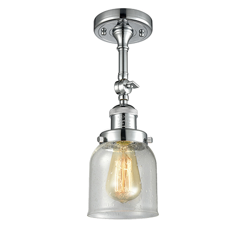 Innovations Lighting Small Bell Polished Chrome 14-Inch One-Light Semi Flush Mount with Seedy Bell Glass