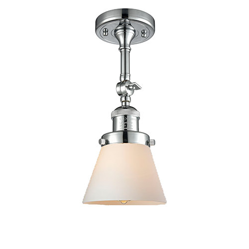 Small Cone Polished Chrome Six-Inch One-Light Semi Flush Mount with Matte White Cased Cone Glass
