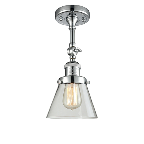 Small Cone Polished Chrome Six-Inch LED Semi Flush Mount with Clear Cone Glass