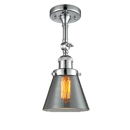 Small Cone Polished Chrome Six-Inch One-Light Semi Flush Mount with Smoked Cone Glass
