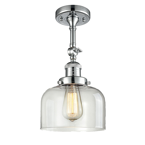 Innovations Lighting Large Bell Polished Chrome 14-Inch One-Light Semi Flush Mount with Clear Dome Glass