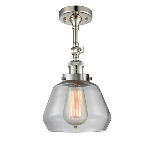 Innovations Lighting Fulton Polished Nickel 13-Inch One-Light Semi Flush Mount with Clear Sphere Glass