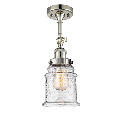Innovations Lighting Canton Polished Nickel 14-Inch One-Light Semi Flush Mount with Seedy Bell Glass