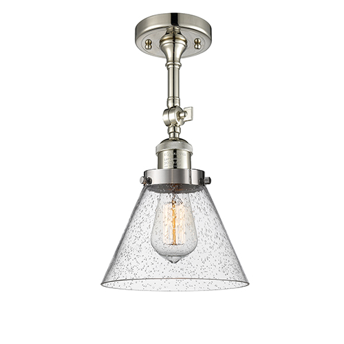 Large Cone Polished Nickel 14-Inch LED Semi Flush Mount with Seedy Cone Glass