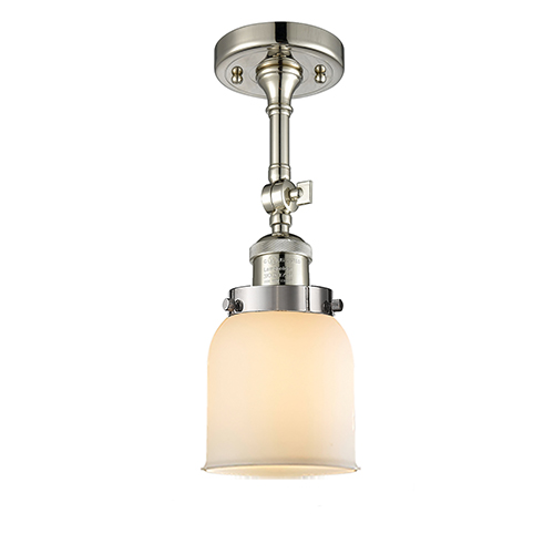 Innovations Lighting Small Bell Polished Nickel 14-Inch One-Light Semi Flush Mount with Matte White Cased Bell Glass