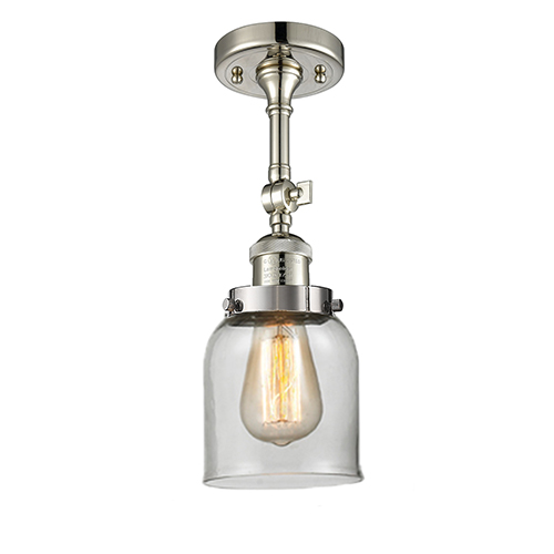 Innovations Lighting Small Bell Polished Nickel 14-Inch One-Light Semi Flush Mount with Clear Bell Glass