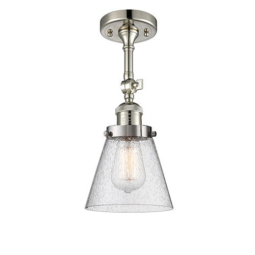 Innovations Lighting Small Cone Polished Nickel Six-Inch LED Semi Flush Mount with Seedy Cone Glass
