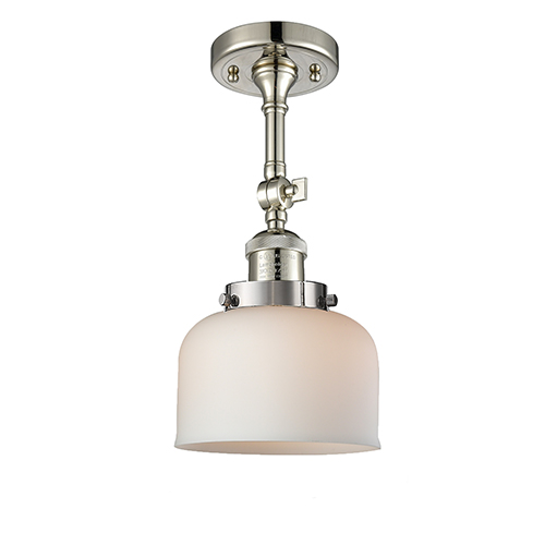 Large Bell Polished Nickel 14-Inch LED Semi Flush Mount with Matte White Cased Dome Glass
