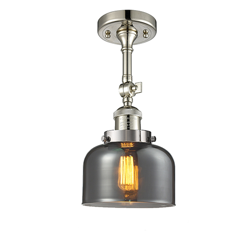 Large Bell Polished Nickel 14-Inch One-Light Semi Flush Mount with Smoked Dome Glass