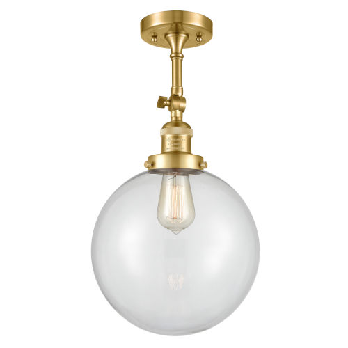 Franklin Restoration Satin Gold 16-Inch One-Light Semi-Flush Mount with Clear Beacon Shade