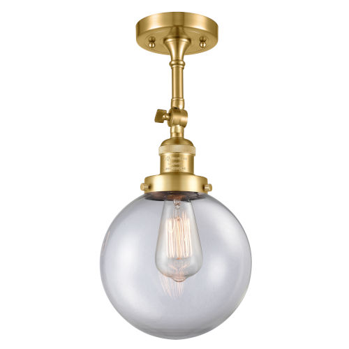 Franklin Restoration Satin Gold 16-Inch LED Semi-Flush Mount with Large Clear Beacon Shade