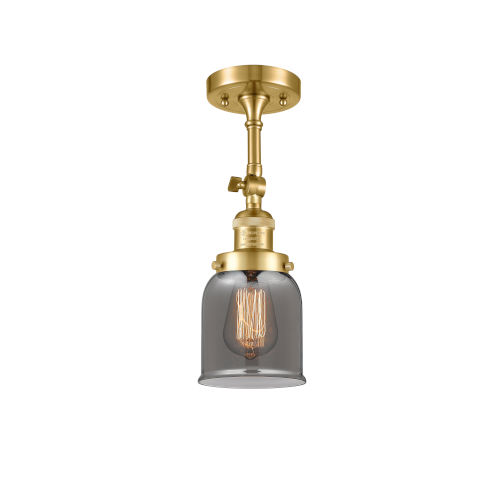 Franklin Restoration Satin Gold 14-Inch LED Semi-Flush Mount with Plated Smoke Small Bell Shade
