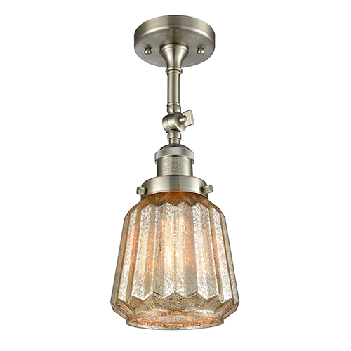 Innovations Lighting Chatham Brushed Satin Nickel 16-Inch One-Light Semi Flush Mount with Mercury Fluted Novelty Glass