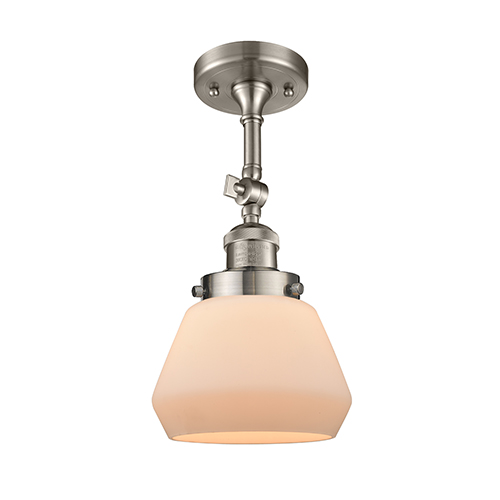 Innovations Lighting Fulton Brushed Satin Nickel 13-Inch One-Light Semi Flush Mount with Matte White Cased Sphere Glass