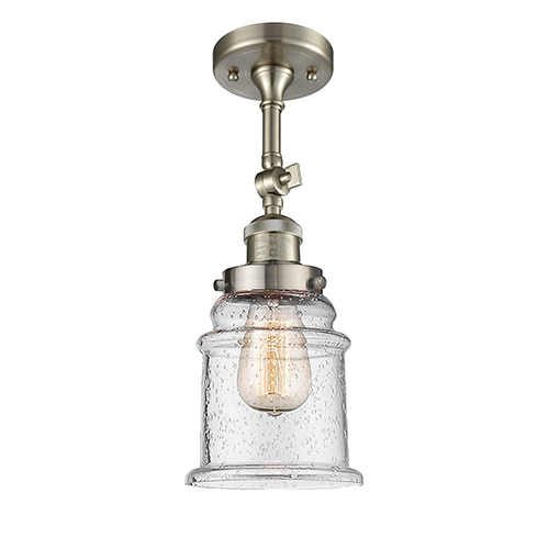 Canton Brushed Satin Nickel 14-Inch LED Semi Flush Mount with Seedy Bell Glass