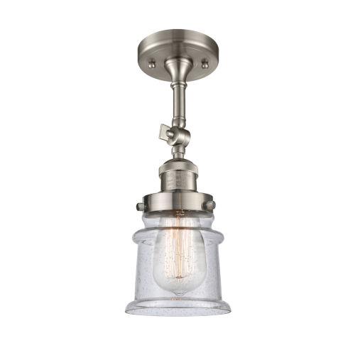 Franklin Restoration Brushed Satin Nickel 14-Inch LED Semi-Flush Mount with Seedy Canton Shade